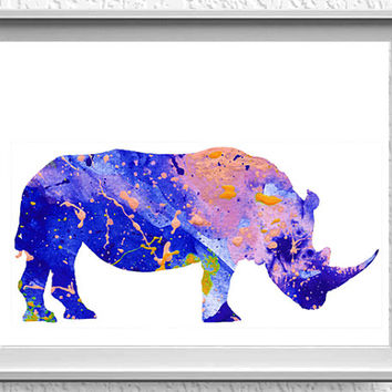 Rhinoceros Rhino Watercolor Art Print Watercolor Painting Minimalist Watercolor Acuarela Minimalista Watercolor Print Art [227]