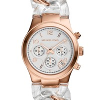 Michael Kors Women's Chronograph Clear and Rose Gold-Tone Stainless Steel Bracelet Watch 34mm MK4282