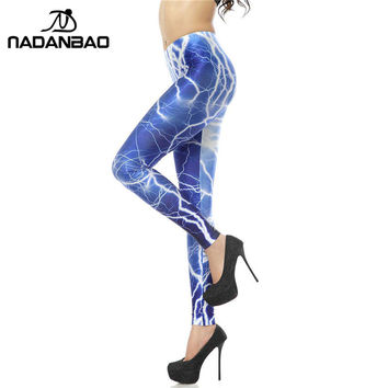 Blue Lightning 3D Digital Leggings