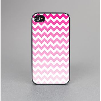 The Pink & White Ombre Chevron Pattern Skin-Sert Case for the Apple iPhone 4-4s