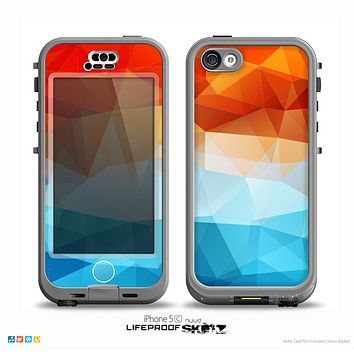 The Vector Abstract Shaped Blue-Orange Overlay Skin for the iPhone 5c nüüd LifeProof Case