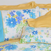 Ocean Blue Floral Bedding in Full Queen King Size - Turquoise, Mustard Yellow Cotton Satin Shabby Chic Bedding - 6pc Duvet Cover & Sheet Set