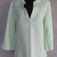 Dana Buchman blouse  medium -linen and cotton  light green  boho peasant bohemian blouse  vneck shirt - long sleeves  - hippie green blouse