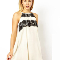 White Dress with Black Lace