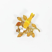 Carved Orange Yellow Bird on a Nest Pin by Swoboda, Vintage 1960s Brooch Signed SW, Audubon Jewelry
