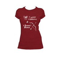 I Wear Ribbons and I Shoot Bows, Ladies Archery T Shirt, Archery Tee