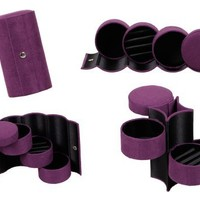 Bundle Monster 3 Tier Compartment Mini Velvet Travel Roll Up Jewelry Box Case Organizer Holder with Snap Closure - DEEP VIOLET