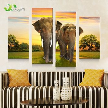 5 Panel Modern Printed African Elephant Oil Canvas Painting