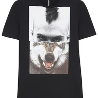 Neil Barrett Black wolf print cotton T-shirt
