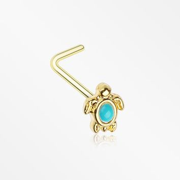 Golden Turquoise Turtle L-Shape Nose Ring