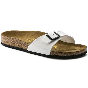 Birkenstock Madrid Birko Flor Patent Patent White 240863 Sandals - Best Deal Online
