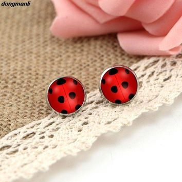 ONETOW WS1688 Miraculous Ladybug Stud Earrings glass Circle Animal Earrings for Girls Cat Noir Miraculous Ladybug Anime Jewelry