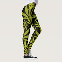 Ganja weed smoke pot black and yellow pattern leggings