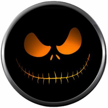 Spooky Orange Glowing Jack Face On Black Halloween Town Nightmare Before Christmas Jack Skellington 18MM - 20MM Charm for Snap Jewelry New Item