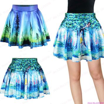 Drop Shipping Fairy Tales MiniSkirts 3D Digital Print Green Women Skirts Summer Gym Fitness Cheerleading Sport Miniskirt