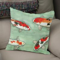 «La ronde des carpes koï», Numbered Edition Coussin by Savousepate - From 25€ - Curioos