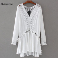 SheMujerSky Boho White Cotton Summer Dresses 2017 Long Sleeve Lace Women Dress Beach Clothing