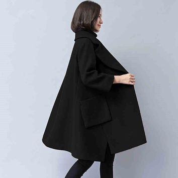 Thick Black Winter Plus Size Solid Color Loose Wool Blends Cloak Overcoat High Quality Wool Jacket Cape Wool&Blends Women TT2599