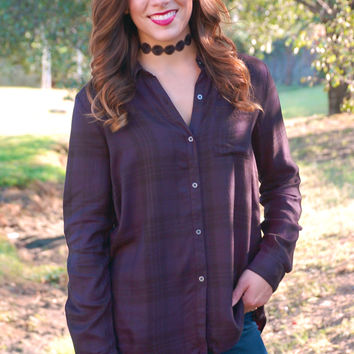 Night Out In Nashville Plaid Top-Deep Purple