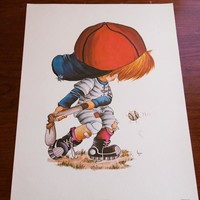 Vintage 70s Baseball Boy Art