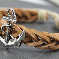 Anchor and infinity bracelet, antique silver anchor bracelets and infinite hope bracelet,Brown leather bracelet