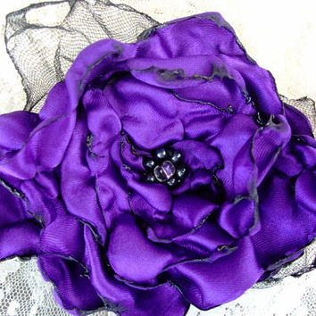 Purple Flower Hair Clip Bridal Wedding by OurPlaceToNest on Etsy