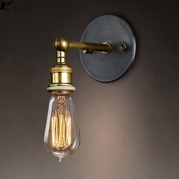 Konesky  Vintage Loft Adjustable Industrial Metal Wall Light Retro Brass Modern Wall lamp Country Style Sconce Lamp Fixtures
