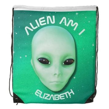 Alien Am I Green Funny Alien Face With Black Eyes Drawstring Backpack