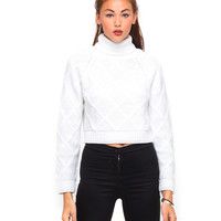 Motel Florence Turtleneck Knit Jumper in White