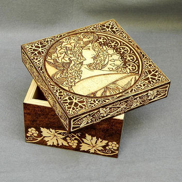 Free shipping wood burned box Art Nouveau wooden box jewelry box keepsake box featuring Alphonse Mucha art gifts for he