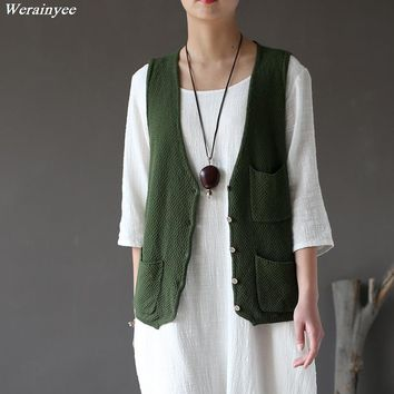Women Casual Vest knitted Ladies Cardigans Sleeveless knitwear Retro Solid Color Vintage Cotton Knitting Sweaters