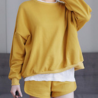 Yellow Loose Long Sleeve Sweatshirt And Drawstring Shorts