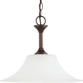 Sea Gull Lighting 69807BLE-827 Holman Bell Metal Bronze One-Light Fluorescent Dome Pendant