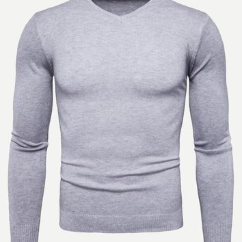 Men V Neck Solid Jumper