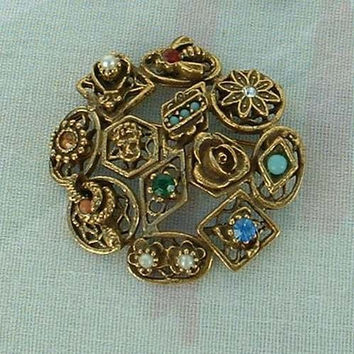 Goldette Antiqued Brass Pin Brooch Rhinestones Pearls Turquoise Vintage Pin
