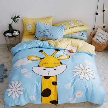 Baby Boys Girls Cute Animal Bedding Set/Kids 100% Cotton Duvet Cover/Sheet/Pillowcase/Children Cartoon Twin Queen Beddings