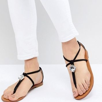 London Rebel Embellished Flat Sandals at asos.com