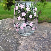 Cherry Blossoms hand painted stemless wine glass