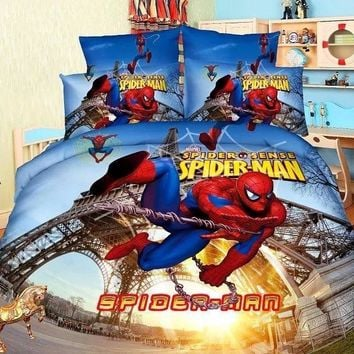 spiderman Eiffel Tower bedding sets Boys Kids bedroom decor single twin size bed sheets quilt duvet covers 3pcs no filler blue