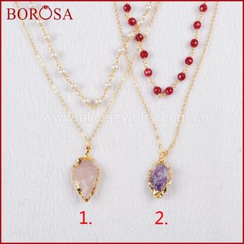 BOROSA Gold Color Rough Natural Purple Crystal Pink Quartz Arrowhead Layer Necklace with 6mm Mixed Colors Beads G761