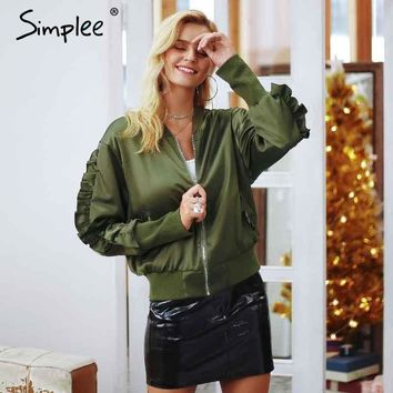 Trendy Simplee Army green bomber basic jacket Satin ruffles baseball jacket outerwear Autumn winter casual coat women 2018 streetwear AT_94_13