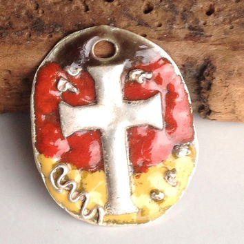 Fine Silver Cross Pendant, PMC Pendant, Enamel, Fall Colors, Kiln Fired, Christian Pendant, Cross Pendant, Etsy, Etsy Jewelry