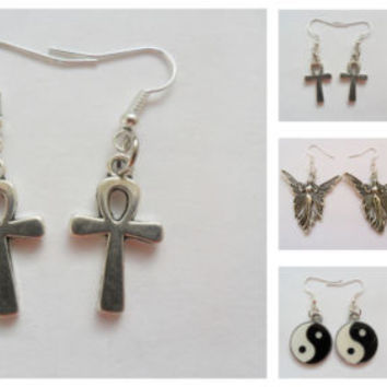 6 new silver tone earrings job lot, ankh, fairy, rose flower, gun, yin yang new | eBay
