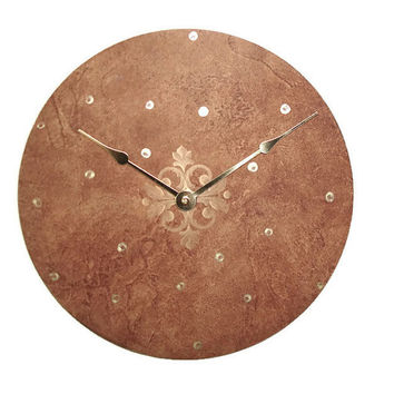 SILENT Coppery Brown Wall Clock With Metallic Gold Accents Marbl