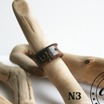 Handstamped Antique Brass & Leather Finger Ring, Personalized Name Ring, Custom Initial Ring, Brown Rustic Leather Ring Gift for Her or Him