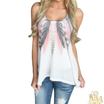 Women Feather Sleeveless Shirts Blouse Casual Tank Tops T-Shirt Camisetas Mujer Verano 2017 #P