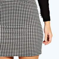 Dena Dogstooth Bodycon Mini Skirt | Boohoo