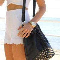 Faux Leather Black Bucket Bag with Gold Stud Embellishment