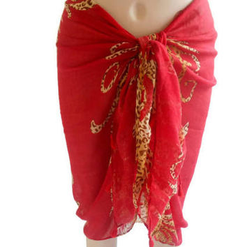 Red Pareo, Swimwear, Cotton Pareo, Wide Pareo, Leopard Pareo, Beach Cover, Red Sarong, Women's Accessories, Wide Shawl, Beach Pareo