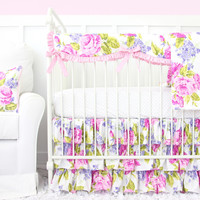 Penelope in Pink Girl Baby Bedding | Pink Floral Crib Bedding